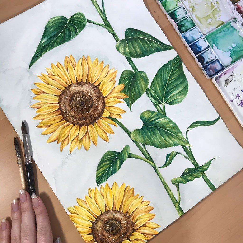 Sunflower Field - 26x36cm - Paper 300g