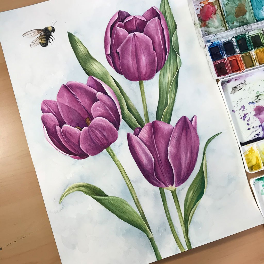 Tulips and the Bee - 26x36cm - Paper 300g
