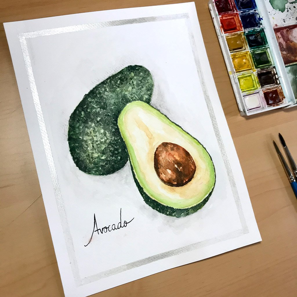 Tattoo Flashes Fruit Collection - Avocado - 18x24cm - Paper 300g