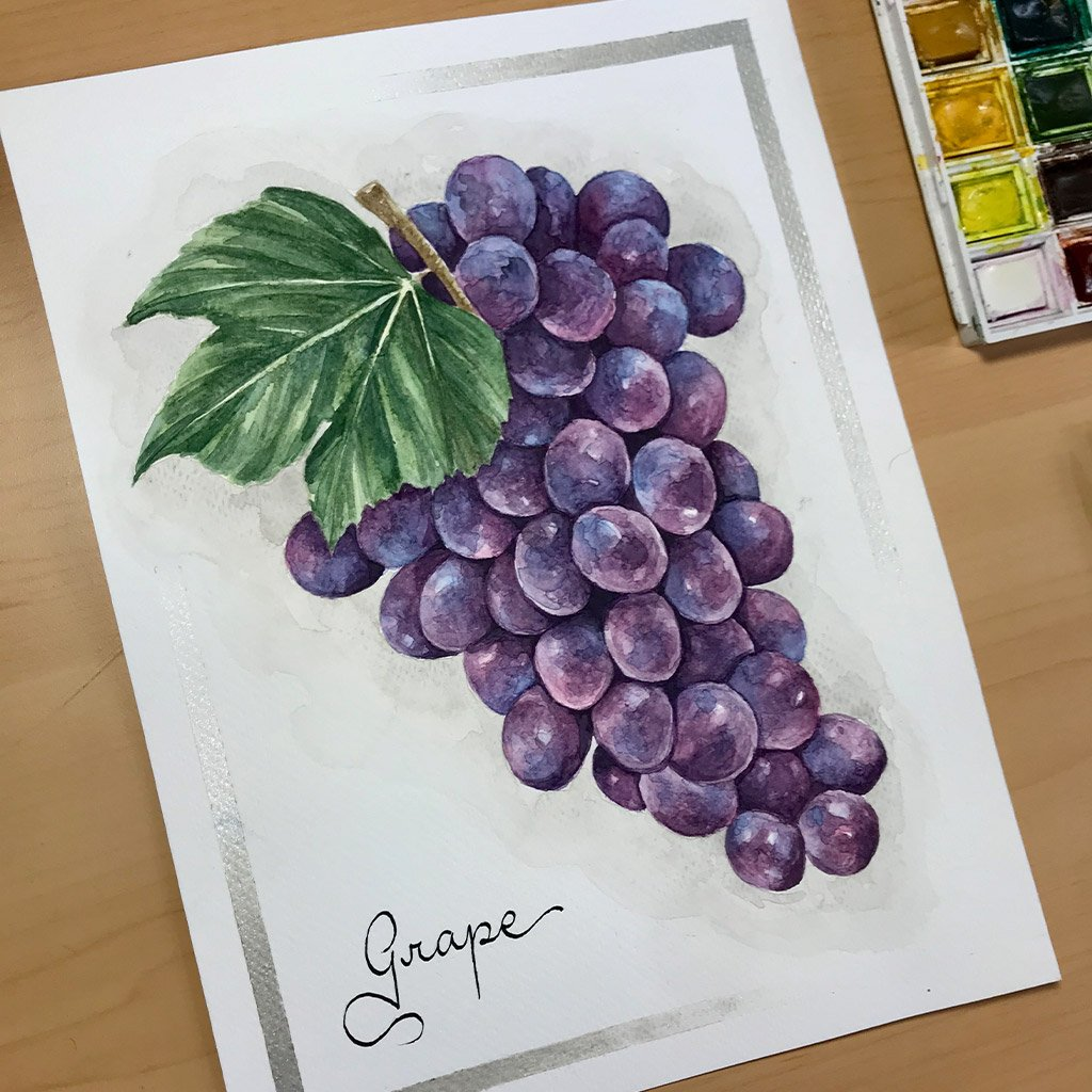 Tattoo Flashes Fruit Collection - Grapes - 18x24cm - Paper 300g
