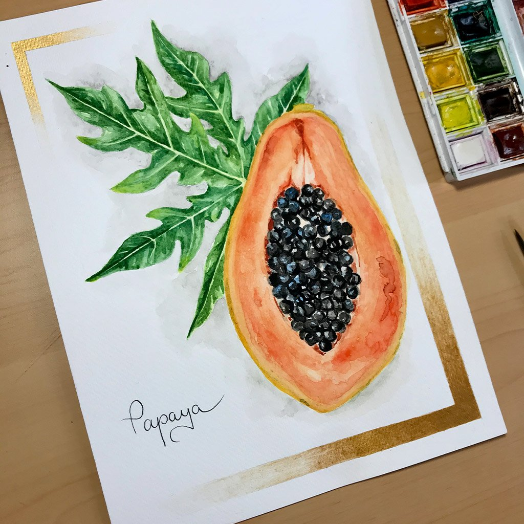 Tattoo Flashes Fruit Collection - Papaya - 18x24cm - Paper 300g